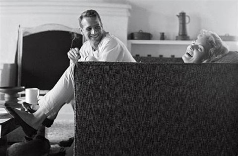 """domestic bliss"" - paul newman and joanne woodward in their beverly hills home by sid avery"