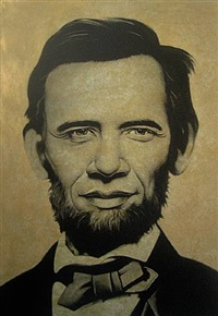 abraham obama (gold) by ron english