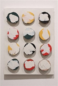 untitled (painting with wood circles) by david ireland