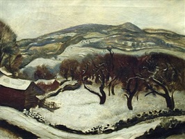 new england winter landscape, circa 1930's by gerald leake