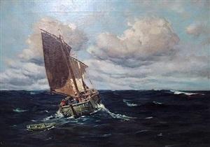 two masted cornish fishing boat at sea by frank richards