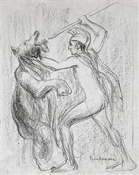 kampf mit dem russischen bären (herkules-hindenburg) by max liebermann