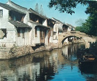 stone bridge in ancient town, zhouzhuang by wang yihua