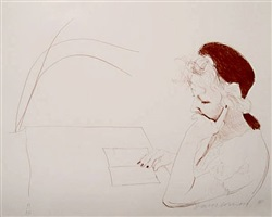 celia reading by david hockney