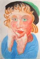 celia in a green hat by david hockney