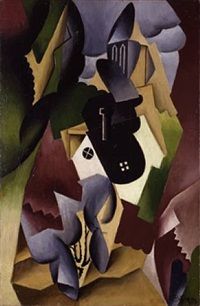 paysage, village au clocher by jean metzinger