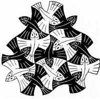 fish vignette by m. c. escher