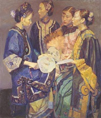 group of beauties with fans by chen yifei