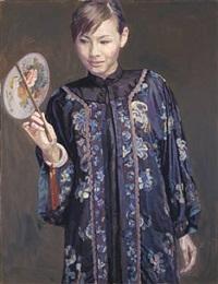 beauty with fan (dark blue) by chen yifei