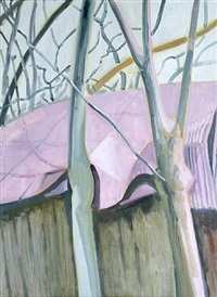 two trees & distorted metal roof by lois dodd