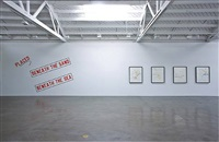 installation view: placed on the tip of a wave by lawrence weiner