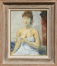 woman wearing a slip by raphael soyer
