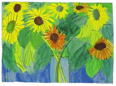 orange and yellow sunflowers by walasse ting