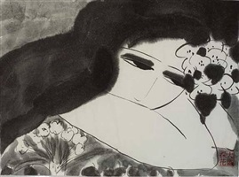 black and white lady with flowers by walasse ting