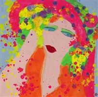 pink and orange lady with flowers by walasse ting