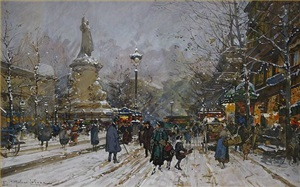 la place de la republique by eugène galien-laloue