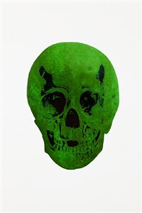 the dead lime green racing green skull by damien hirst