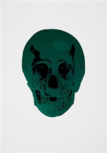 the dead racing green raven black skull by damien hirst