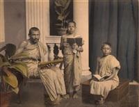 buddhist priest & acolytes, kaudy ceylon, august 18 by a.w. plate (co.)