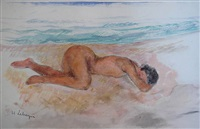 nu allongé sur la plage by henri lebasque