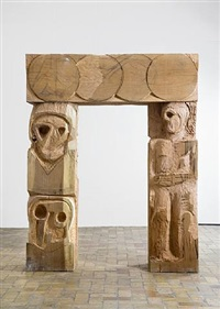 wood gate i by thomas houseago