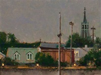 evening - lambertville, from acme parking lot by anthony michael autorino