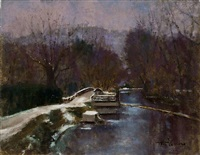 winter - canal, lambertville - sold by anthony michael autorino