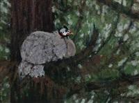 guinea hen in pine tree - leeside farm by anthony michael autorino
