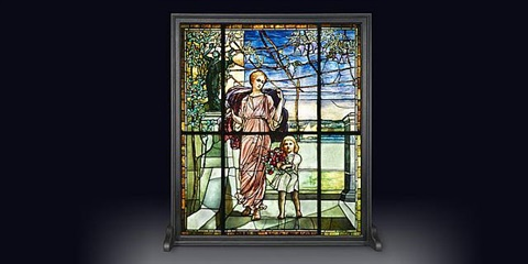 important tiffany figural stained glass window by tiffany studios