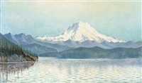 view from puget sound with mid summer effect, mount tacoma, washington by grafton tyler brown