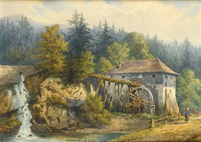 landscape with a mill by gaspard gobaut