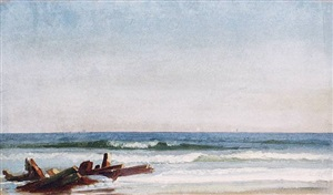 beach scene with wreck by william trost richards