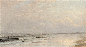 beach scene with pink clouds by william trost richards