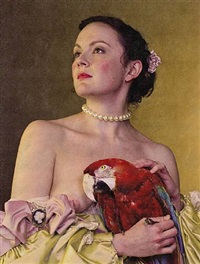 <!--49-->young woman with a macaw (after tiepolo) by philip haas