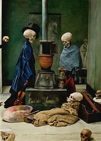 <!--55-->skeletons warming themselves (after ensor) by philip haas