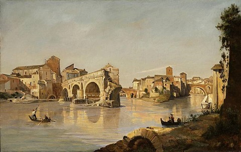 rome: view of the tiber from the ponte rotto to the isola tiberina with the monastery of s. bartolomeo by jean-baptiste-camille corot