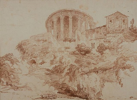 the temple of the sibyl at tivoli by hubert robert