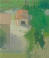 looking down from monte castello, a garage with an open door by stuart shils