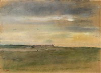 coastal landscape at sunset by edgar degas