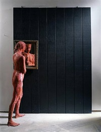 standing woman looking into mirror by george segal
