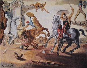battle around a dandelion by salvador dalí