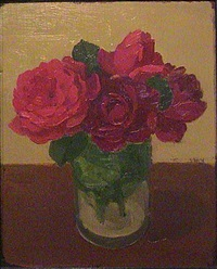 red roses in glass jar by albert york