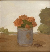 carnations in a blue can with a beetle in a landscape by albert york