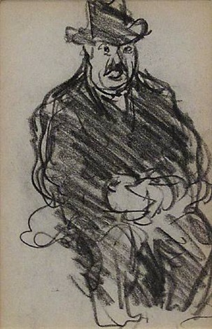 seated man with hat figure study by george benjamin luks