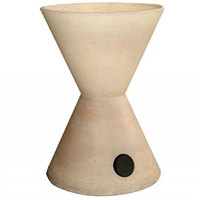 a large double hole double cone bisque planter by la gardo tackett