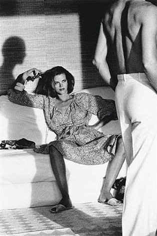 woman observing man, saint-tropez by helmut newton