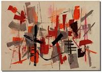 untitled composition in orange & gray by john von wicht