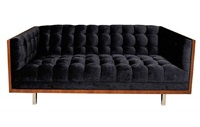 magnificent midnight blue milo baughman sofa by milo baughman