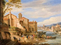 the port of the ripa grande, rome with merchants conversing by adrian fransz boudewijns and pieter bout