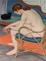 nude in a wicker chair by clifford hall
